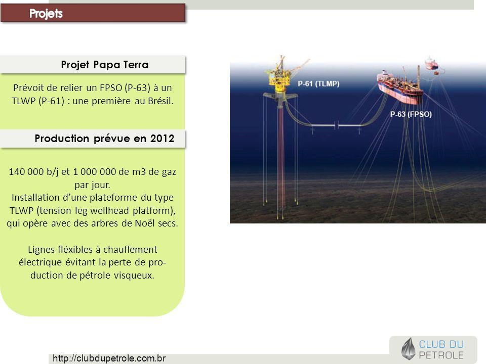 Prévoit de relier un FPSO (P-63) à un TLWP (P-61) : une première au Brésil. Projet Papa Terra 140 000 b/j et 1 000 000 de m3 de gaz par jour. Installa
