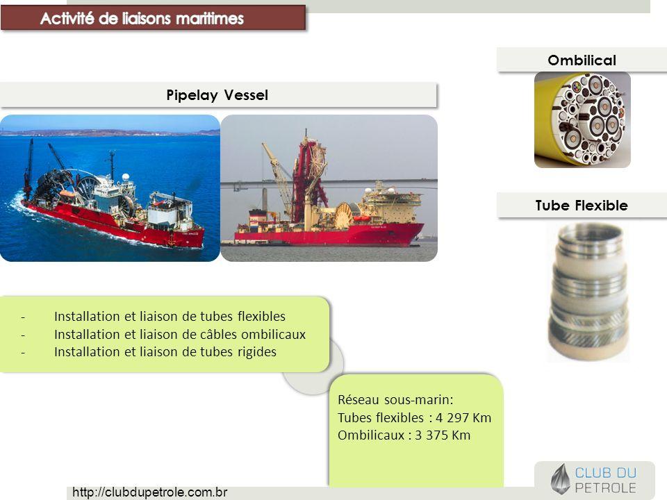 -Installation et liaison de tubes flexibles -Installation et liaison de câbles ombilicaux -Installation et liaison de tubes rigides Réseau sous-marin: