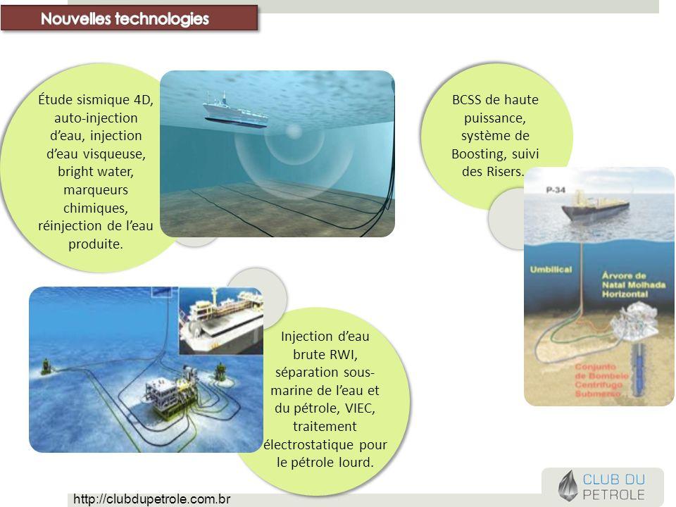 BCSS de haute puissance, système de Boosting, suivi des Risers.. Étude sismique 4D, auto-injection deau, injection deau visqueuse, bright water, marqu