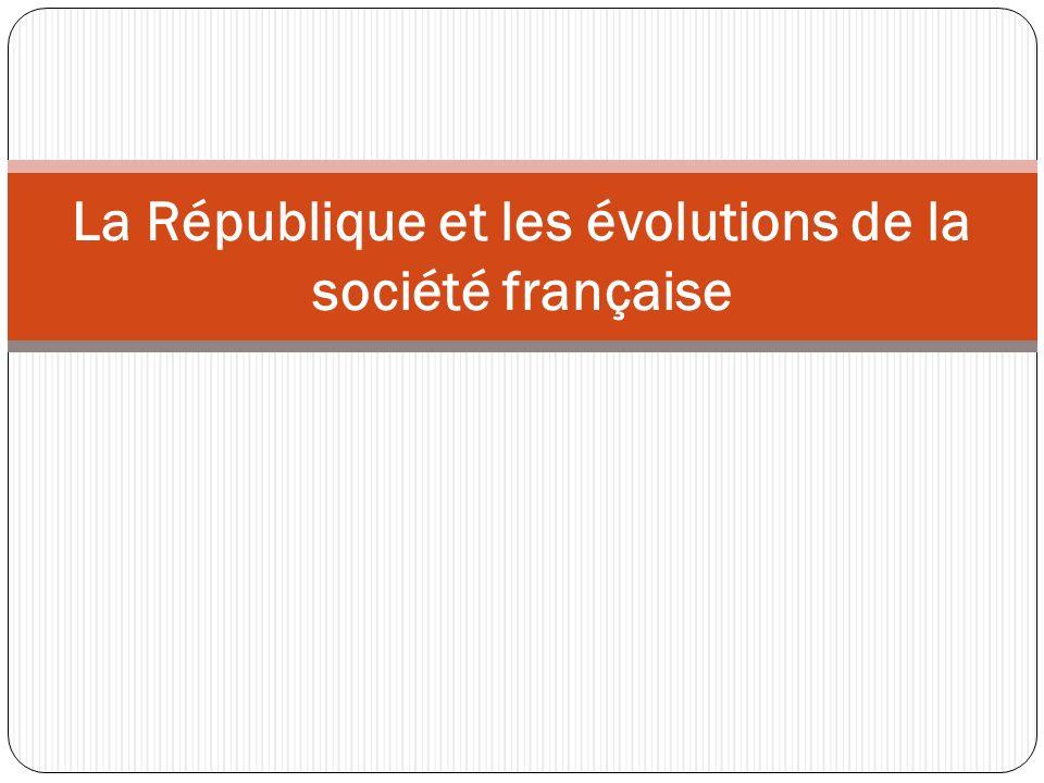 Introduction République = série dévolutions politiques autour de principes qui se maintiennent Question : quelle relation entre les évolutions politiques et celles de la société française .