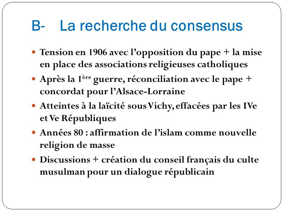 B-La recherche du consensus Tension en 1906 avec lopposition du pape + la mise en place des associations religieuses catholiques Après la 1 ère guerre