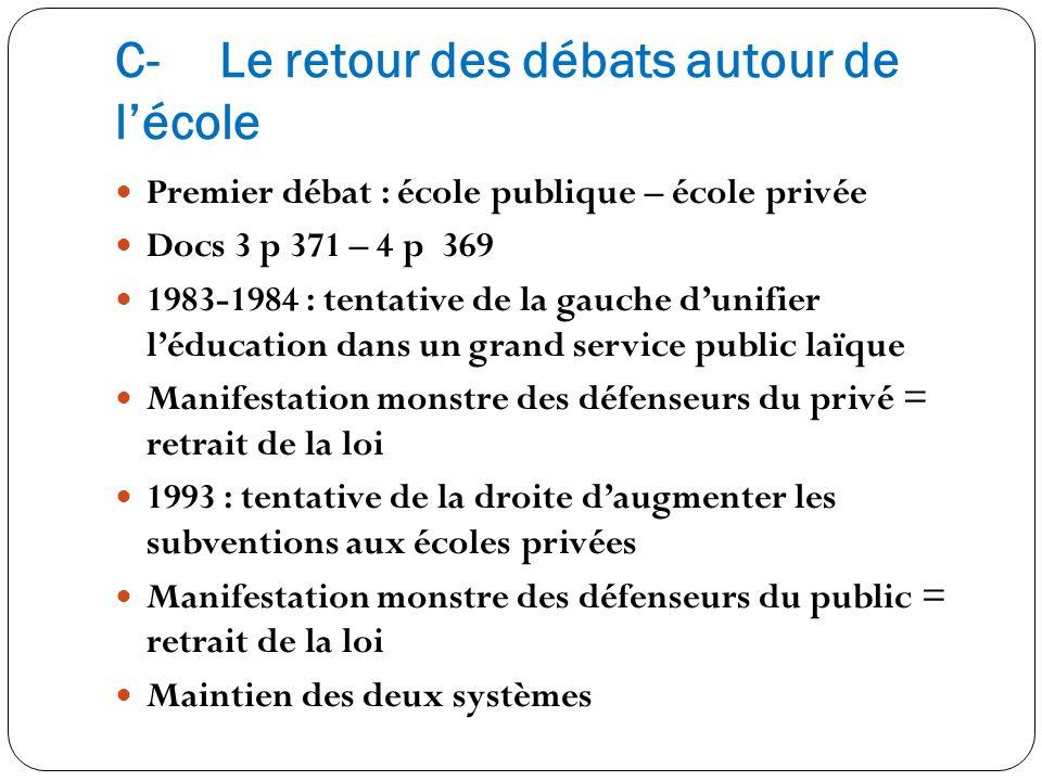 C-Le retour des débats autour de lécole Premier débat : école publique – école privée Docs 3 p 371 – 4 p 369 1983-1984 : tentative de la gauche dunifi