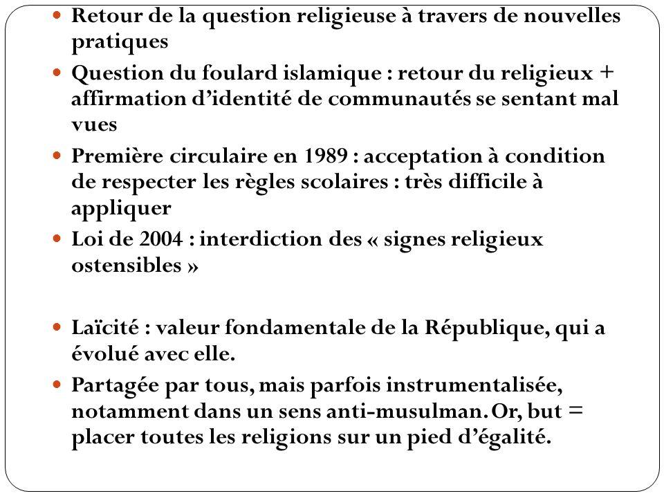 Retour de la question religieuse à travers de nouvelles pratiques Question du foulard islamique : retour du religieux + affirmation didentité de commu