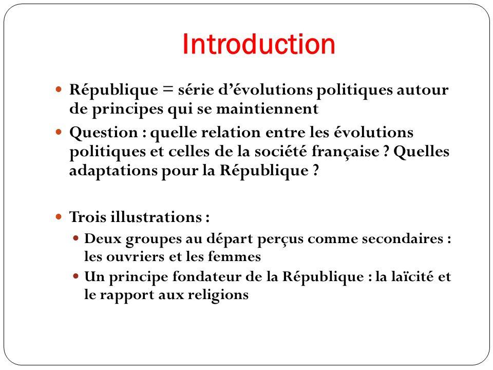 Introduction République = série dévolutions politiques autour de principes qui se maintiennent Question : quelle relation entre les évolutions politiq
