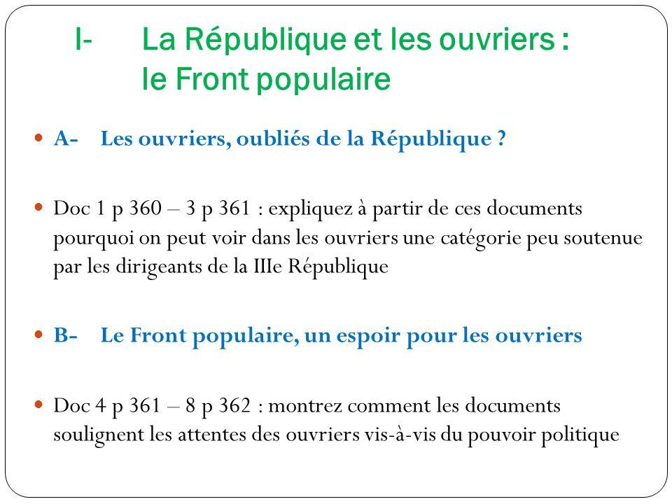 I-La République et les ouvriers : le Front populaire A-Les ouvriers, oubliés de la République ? Doc 1 p 360 – 3 p 361 : expliquez à partir de ces docu
