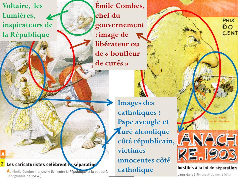 Émile Combes, chef du gouvernement : image de libérateur ou de « bouffeur de curés » Images des catholiques : Pape aveugle et curé alcoolique côté rép