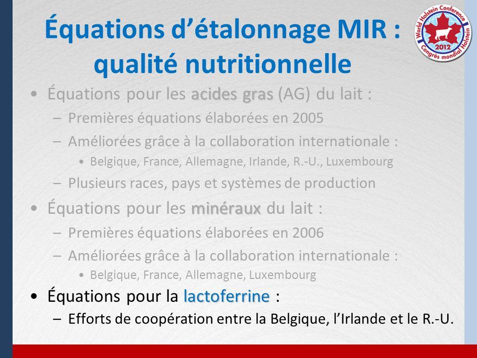 Équations détalonnage MIR : qualité nutritionnelle acides grasÉquations pour les acides gras (AG) du lait : –Premières équations élaborées en 2005 –Am