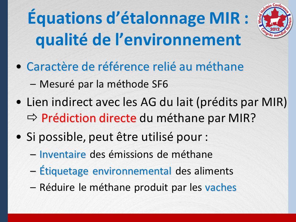 Caractère de référence relié au méthaneCaractère de référence relié au méthane –Mesuré par la méthode SF6 Prédiction directeLien indirect avec les AG