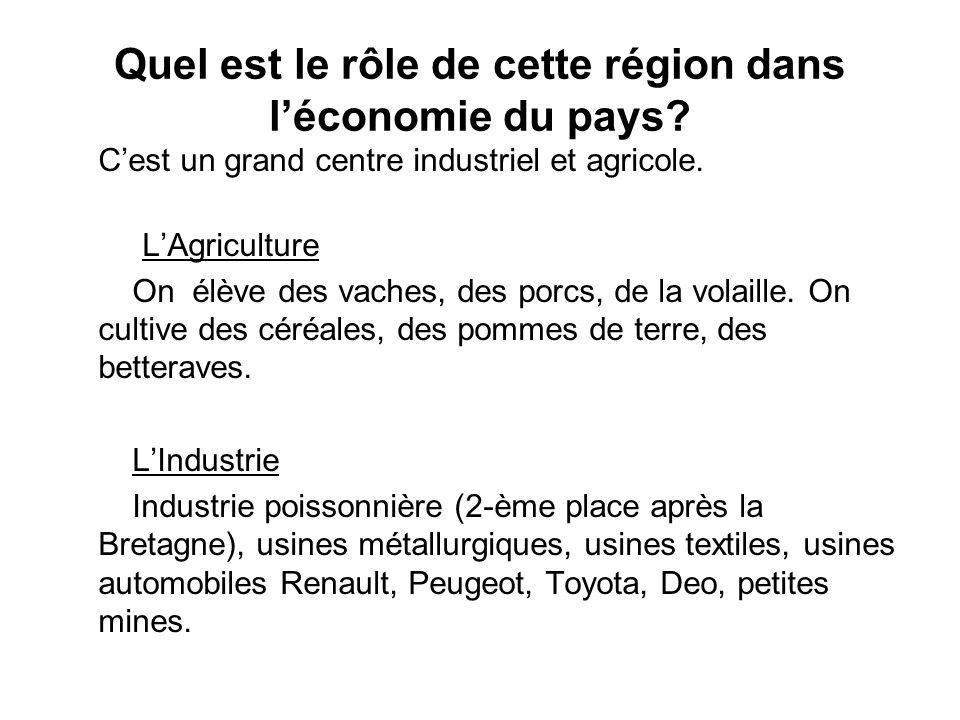 Quel est le rôle de cette région dans léconomie du pays? Cest un grand centre industriel et agricole. LAgriculture On élève des vaches, des porcs, de