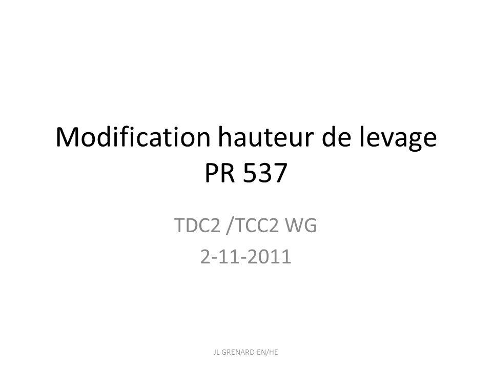 Modification hauteur de levage Actuellement : S.GIROD Manque mini 250 mm pour sortir les tables sans démonter le blindage JL GRENARD EN/HE