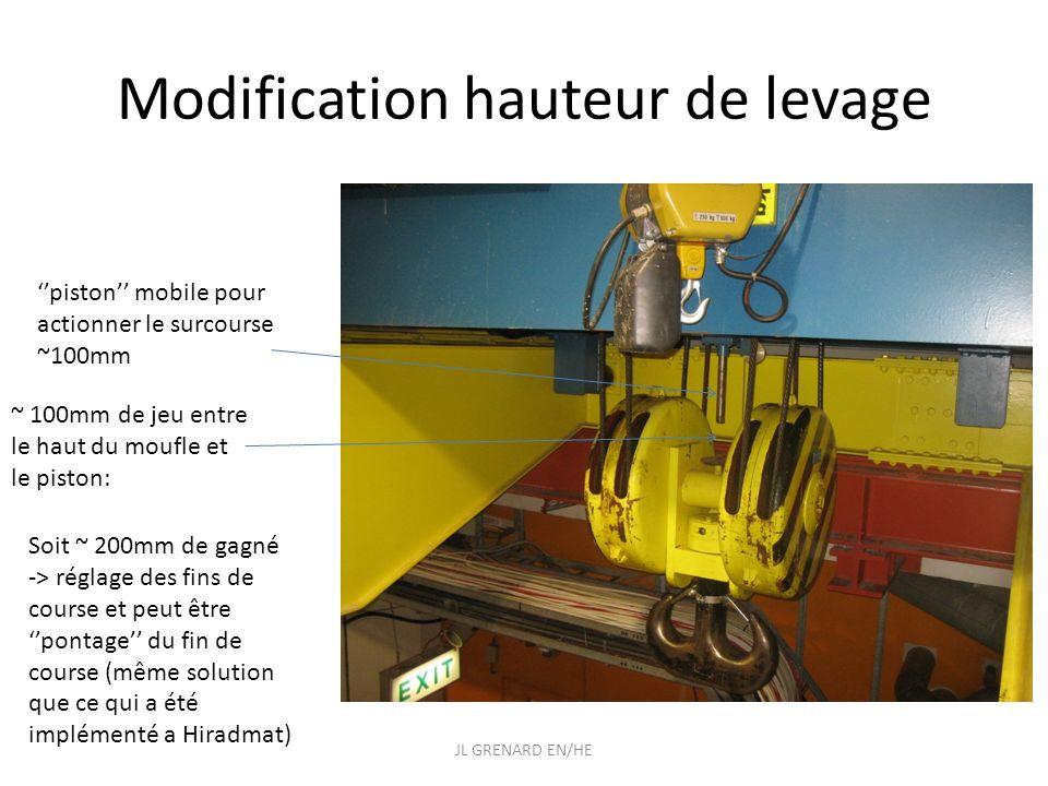 Modification hauteur de levage ~ 100mm de jeu entre le haut du moufle et le piston: piston mobile pour actionner le surcourse ~100mm Soit ~ 200mm de g