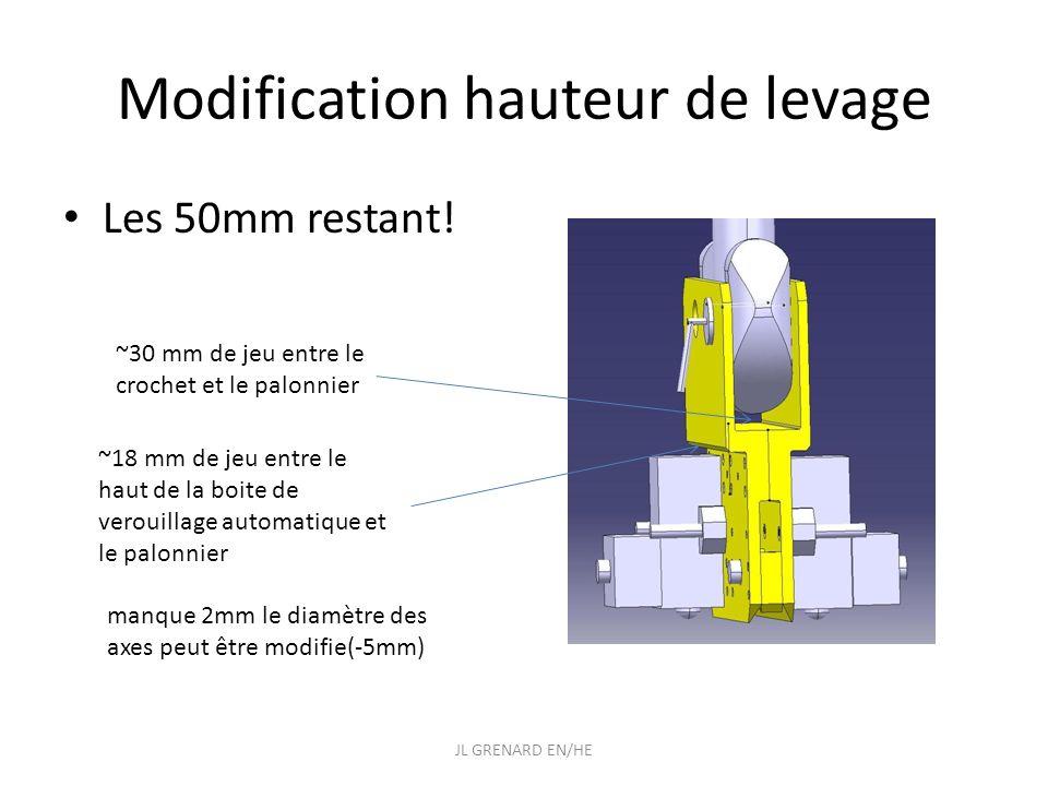 Modification hauteur de levage Les 50mm restant! JL GRENARD EN/HE ~30 mm de jeu entre le crochet et le palonnier ~18 mm de jeu entre le haut de la boi