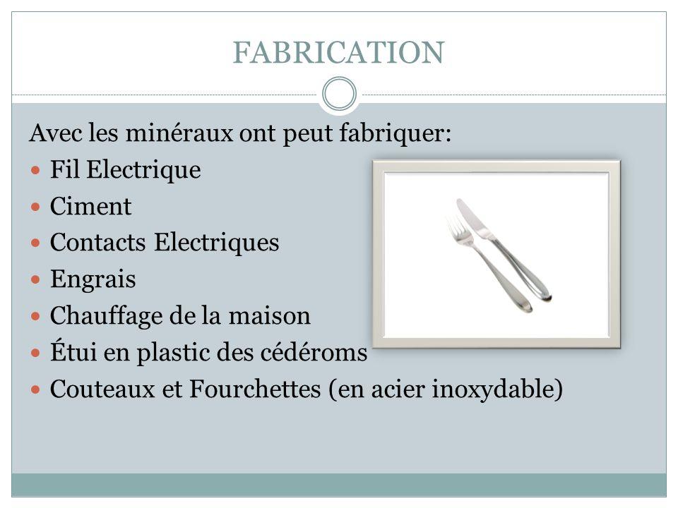 FABRICATION Avec les minéraux ont peut fabriquer: Fil Electrique Ciment Contacts Electriques Engrais Chauffage de la maison Étui en plastic des cédéroms Couteaux et Fourchettes (en acier inoxydable)