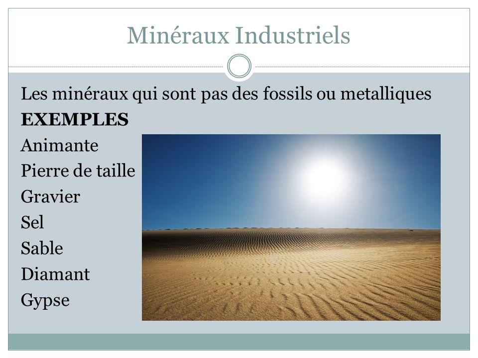 Minéraux Industriels Les minéraux qui sont pas des fossils ou metalliques EXEMPLES Animante Pierre de taille Gravier Sel Sable Diamant Gypse