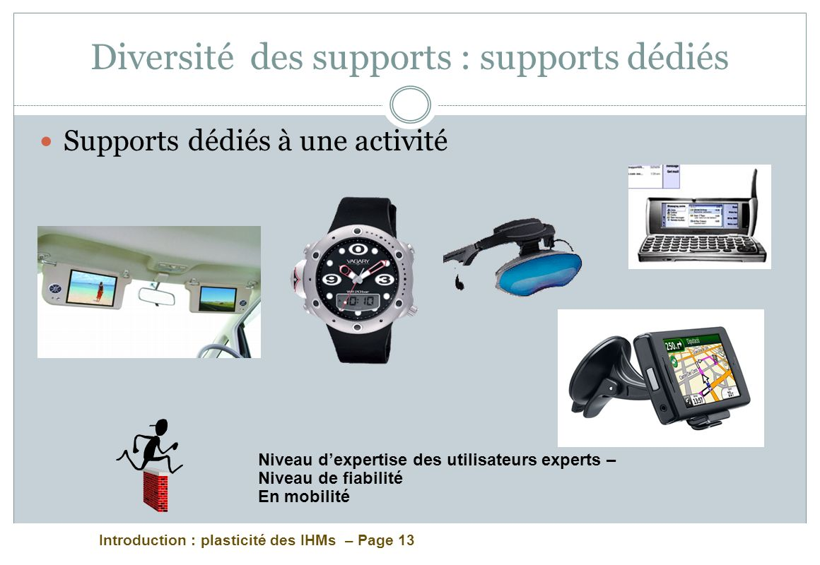 Introduction : plasticité des IHMs – Page 13 Diversité des supports : supports dédiés Supports dédiés à une activité Niveau dexpertise des utilisateurs experts – Niveau de fiabilité En mobilité
