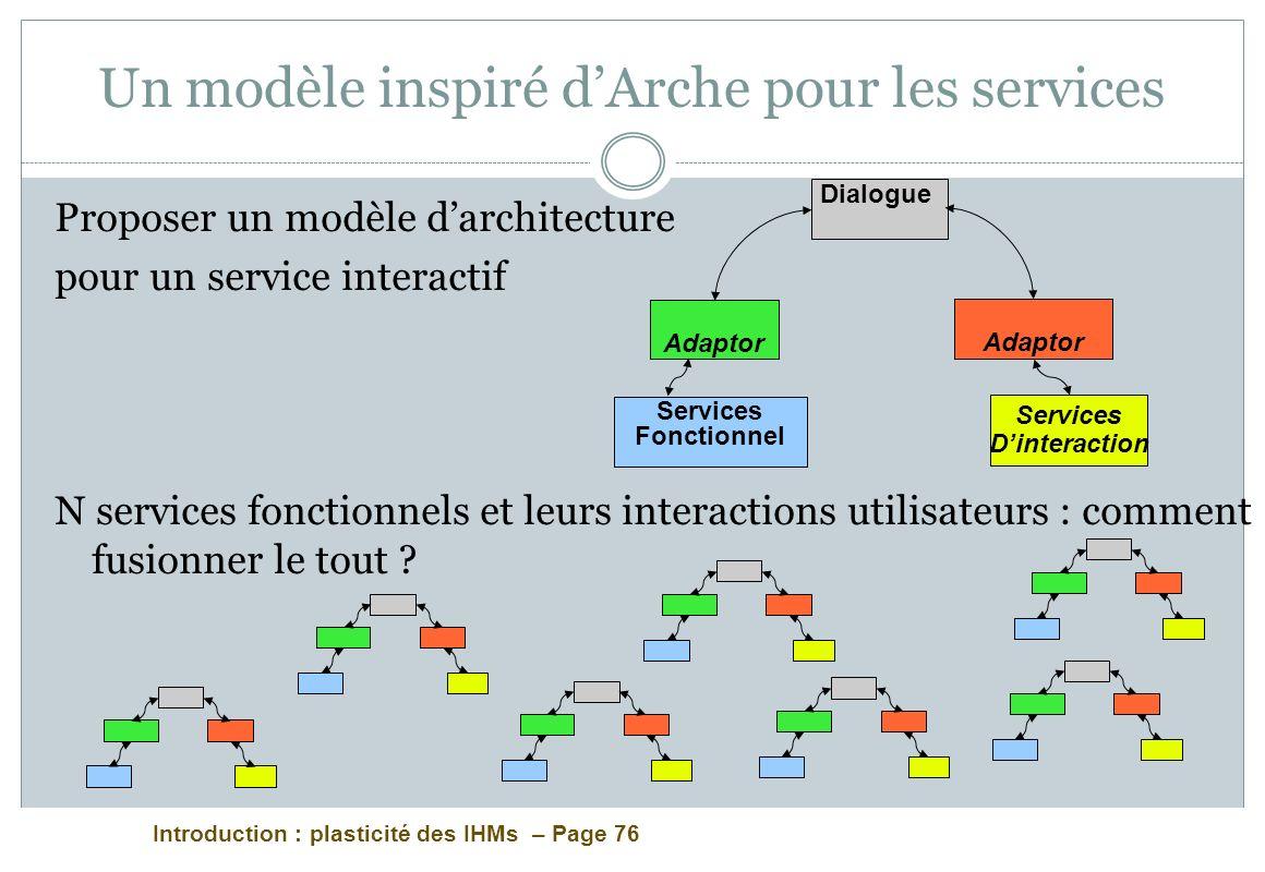 Introduction : plasticité des IHMs – Page 76 Un modèle inspiré dArche pour les services Proposer un modèle darchitecture pour un service interactif N services fonctionnels et leurs interactions utilisateurs : comment fusionner le tout .