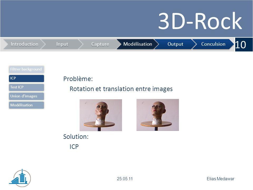 3D-Rock 10 IntroductionInputCaptureModélisationOutputConculsion Elias Medawar25.05.11 Filtrer backgroundICPTest ICPUnion dimagesModélisation Problème: