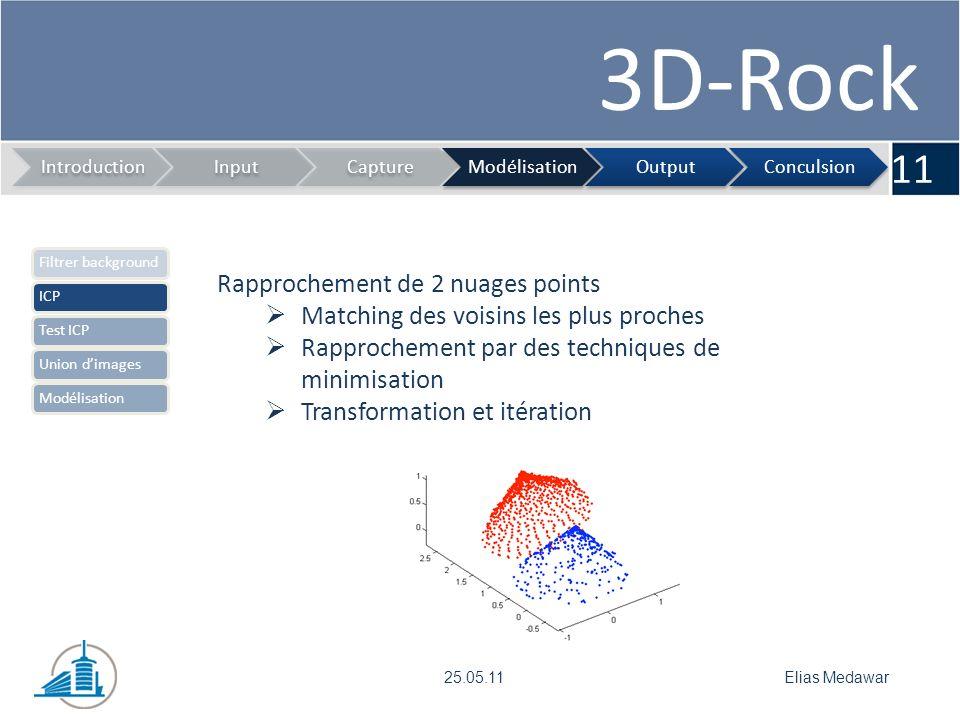 3D-Rock 11 IntroductionInputCaptureModélisationOutputConculsion Elias Medawar25.05.11 Rapprochement de 2 nuages points Matching des voisins les plus p