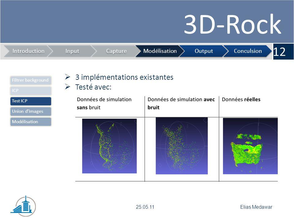 3D-Rock 12 IntroductionInputCaptureModélisationOutputConculsion Elias Medawar25.05.11 3 implémentations existantes Testé avec: Filtrer backgroundICPTest ICPUnion dimagesModélisation