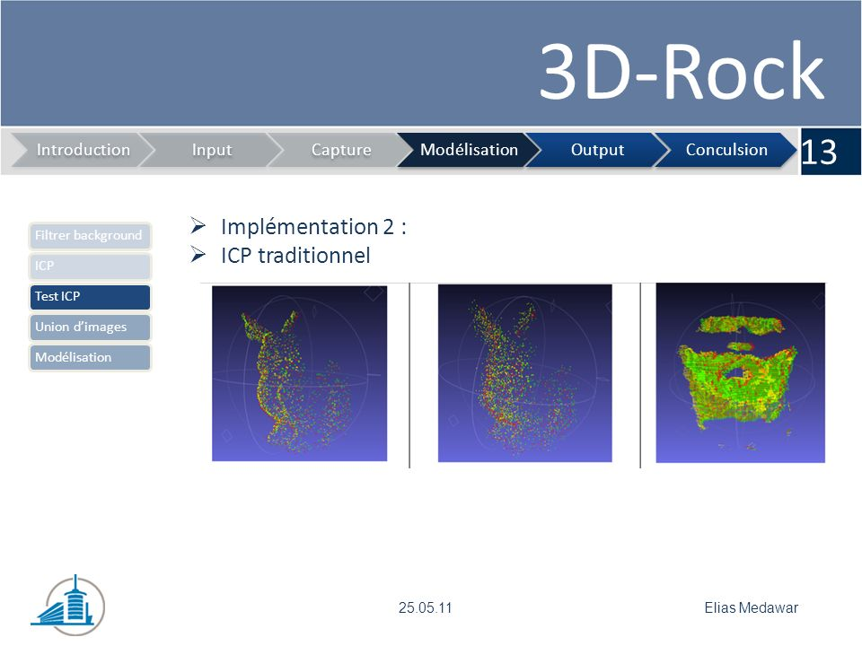 3D-Rock 13 IntroductionInputCaptureModélisationOutputConculsion Elias Medawar25.05.11 Implémentation 2 : ICP traditionnel Filtrer backgroundICPTest ICPUnion dimagesModélisation