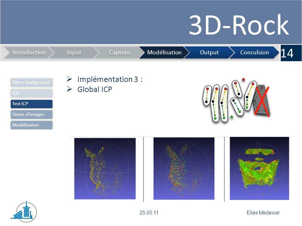 3D-Rock 14 IntroductionInputCaptureModélisationOutputConculsion Elias Medawar25.05.11 Implémentation 3 : Global ICP Filtrer backgroundICPTest ICPUnion dimagesModélisation