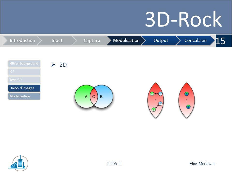 3D-Rock 15 IntroductionInputCaptureModélisationOutputConculsion Elias Medawar25.05.11 Filtrer backgroundICPTest ICPUnion dimagesModélisation 2D