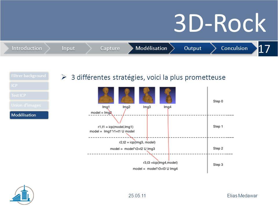 3D-Rock 17 IntroductionInputCaptureModélisationOutputConculsion Elias Medawar25.05.11 Filtrer backgroundICPTest ICPUnion dimagesModélisation 3 différentes stratégies, voici la plus prometteuse