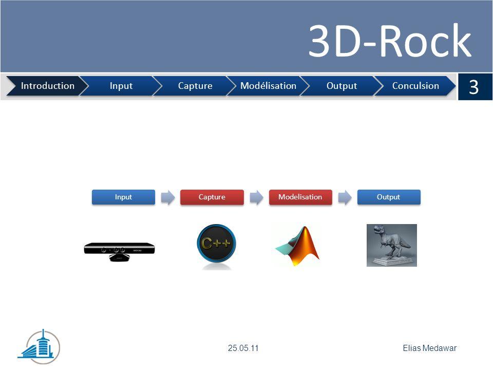 3D-Rock 4 IntroductionInputCaptureModélisationOutputConculsion Frédéric Monney25.05.11 KinectDrivers Fonctionnement de la Kinect Avantage par rapport à une caméra 2D Utilisation de la Kinect