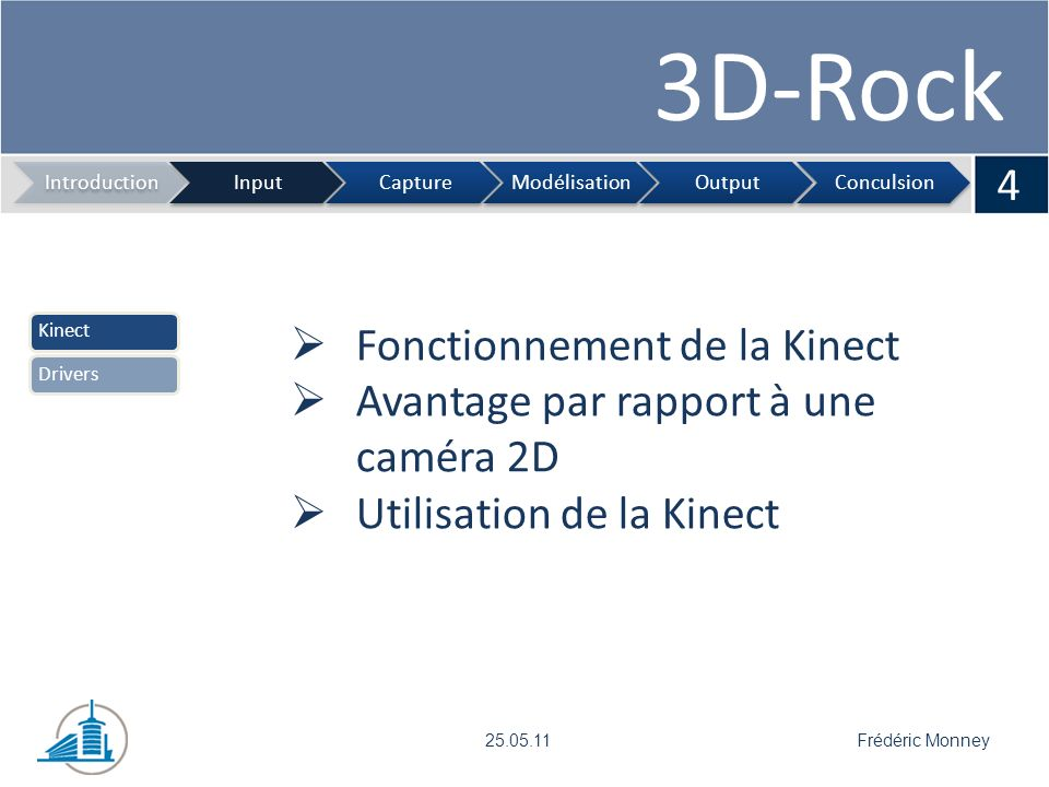 3D-Rock 5 IntroductionInputCaptureModélisationOutputConculsion Frédéric Monney25.05.11 KinectDrivers Librairie OpenKinect Introduction sur les drivers Fonctionnalités du driver Remarques sur le driver