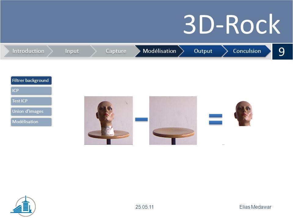 3D-Rock 10 IntroductionInputCaptureModélisationOutputConculsion Elias Medawar25.05.11 Filtrer backgroundICPTest ICPUnion dimagesModélisation Problème: Rotation et translation entre images Solution: ICP
