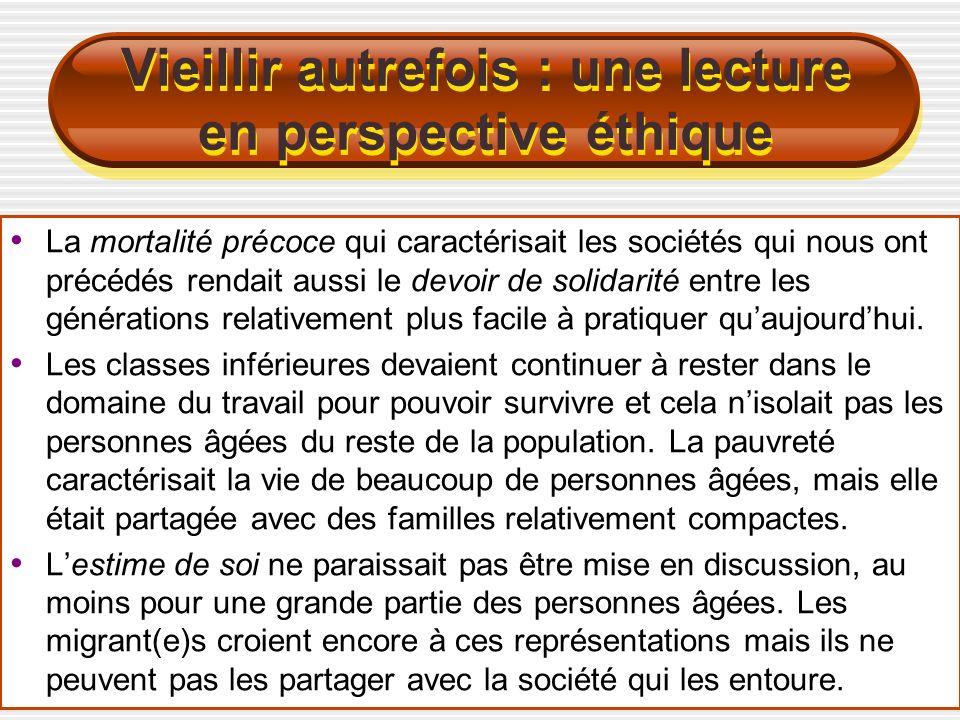 Quelques composantes du phénomène La perception dune « solidarité naturelle » entre les générations se perd à la faveur de lectures subjectives dominées par la peur et la concurrence réciproque entre les « jeunes » et les « vieux ».