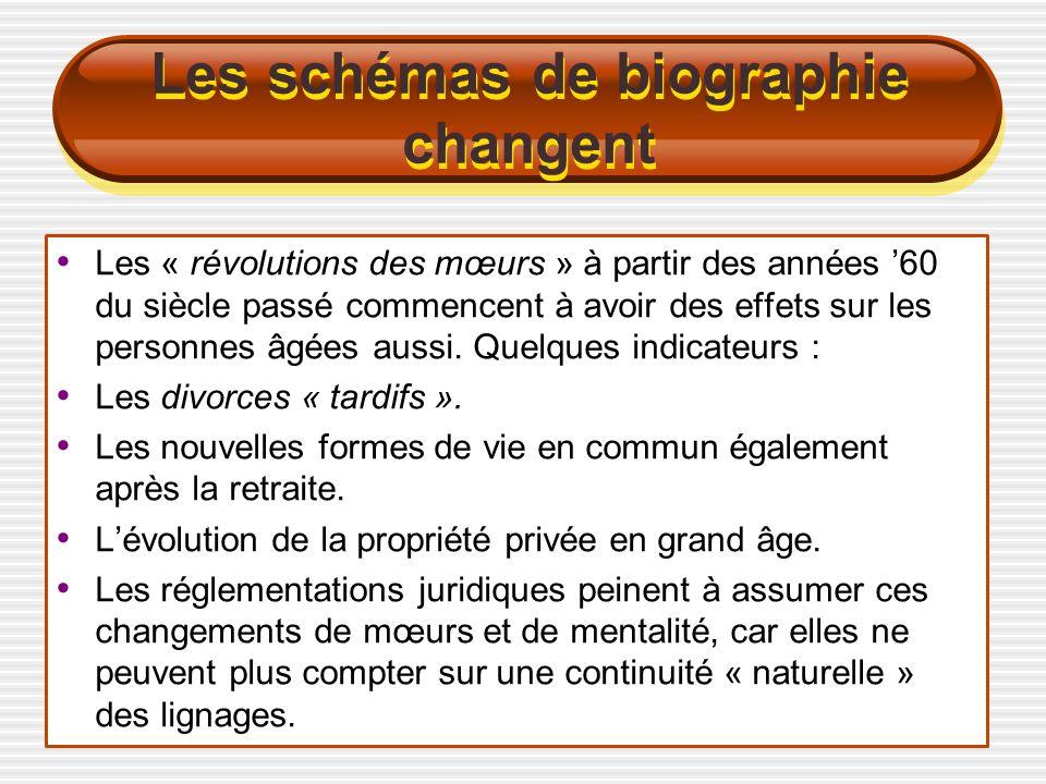 Les schémas de biographie changent Les « révolutions des mœurs » à partir des années 60 du siècle passé commencent à avoir des effets sur les personnes âgées aussi.
