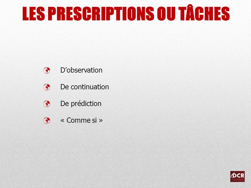 LES PRESCRIPTIONS OU TÂCHES Dobservation De continuation De prédiction « Comme si »
