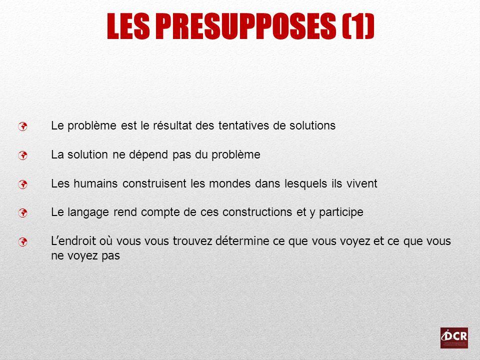 LES PRESUPPOSES (1) Le problème est le résultat des tentatives de solutions La solution ne dépend pas du problème Les humains construisent les mondes