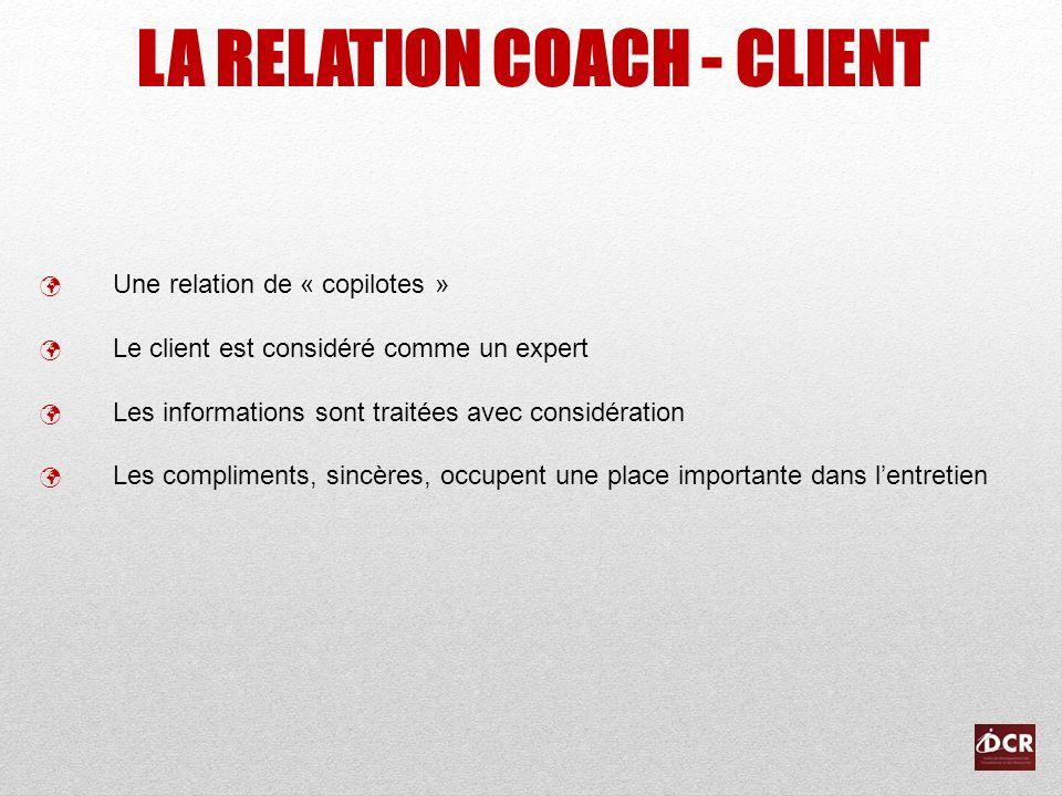 LA RELATION COACH - CLIENT Une relation de « copilotes » Le client est considéré comme un expert Les informations sont traitées avec considération Les