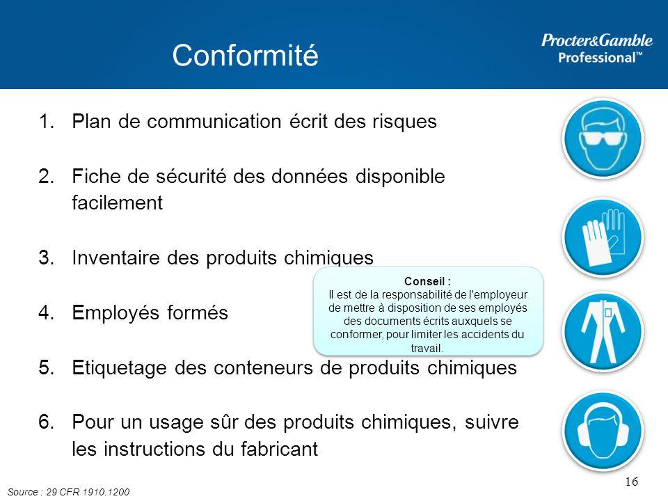 Conformité 1.Plan de communication écrit des risques 2.Fiche de sécurité des données disponible facilement 3.Inventaire des produits chimiques 4.Emplo