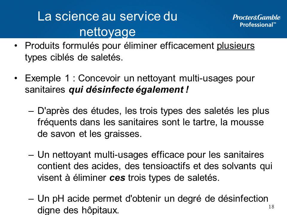 Produits formulés pour éliminer efficacement plusieurs types ciblés de saletés. Exemple 1 : Concevoir un nettoyant multi-usages pour sanitaires qui dé