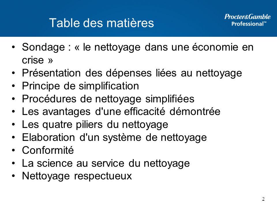 Table des matières Sondage : « le nettoyage dans une économie en crise » Présentation des dépenses liées au nettoyage Principe de simplification Procé