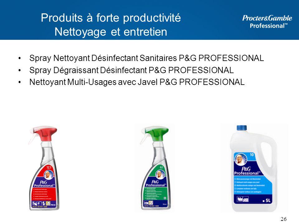 Produits à forte productivité Nettoyage et entretien Spray Nettoyant Désinfectant Sanitaires P&G PROFESSIONAL Spray Dégraissant Désinfectant P&G PROFE