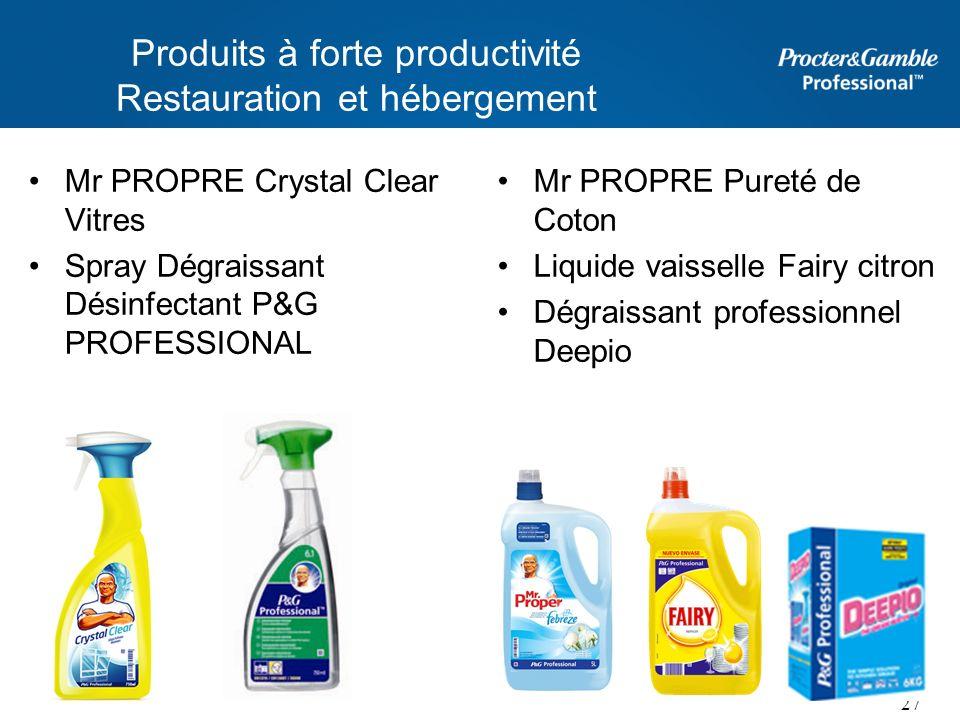 Produits à forte productivité Restauration et hébergement Mr PROPRE Crystal Clear Vitres Spray Dégraissant Désinfectant P&G PROFESSIONAL Mr PROPRE Pur