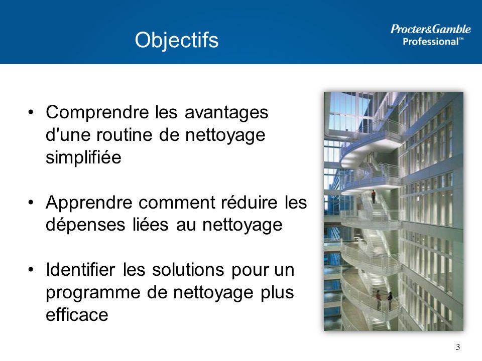 Objectifs Comprendre les avantages d'une routine de nettoyage simplifiée Apprendre comment réduire les dépenses liées au nettoyage Identifier les solu