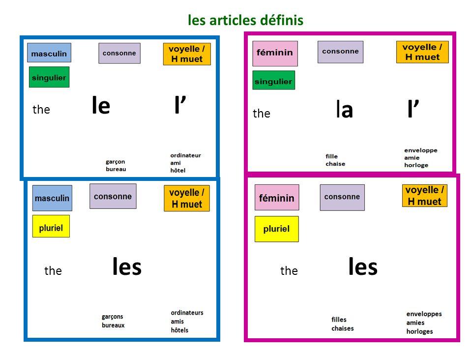 the le l the la l the les les articles définis