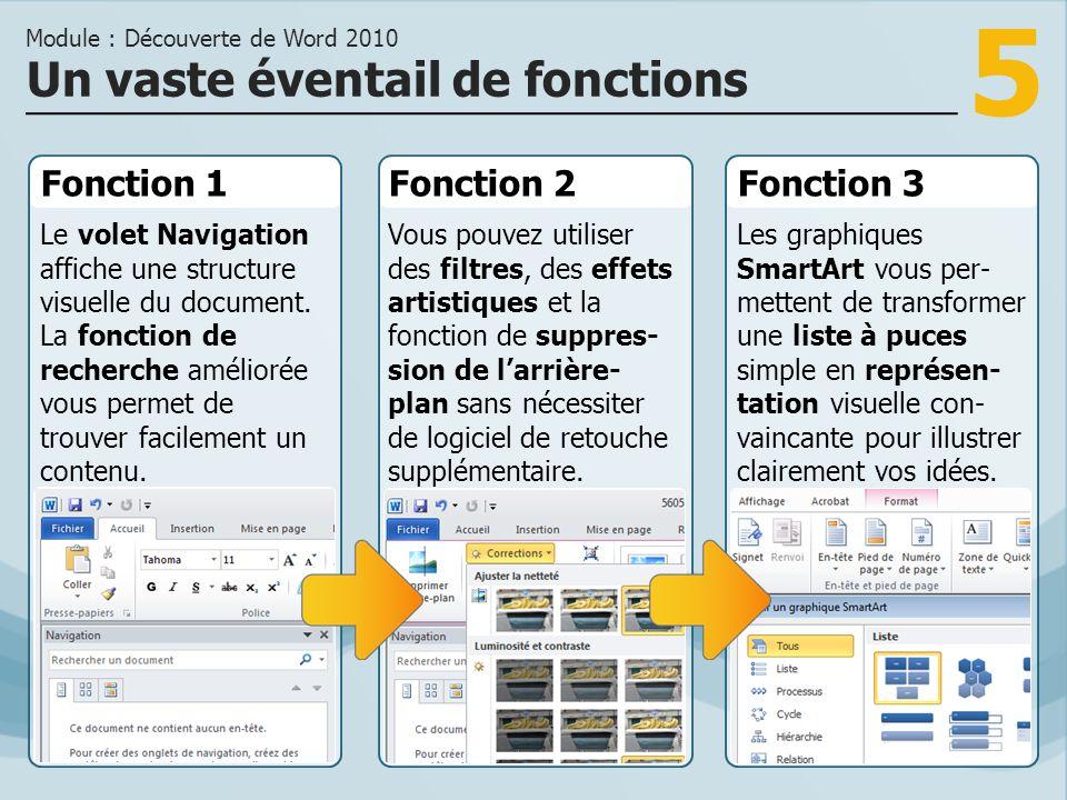 5 Fonction 1 Le volet Navigation affiche une structure visuelle du document.
