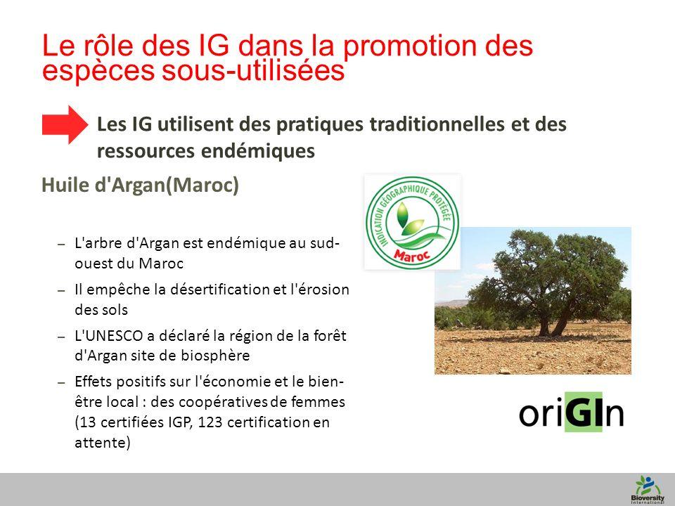 10 Le rôle des IG dans la promotion des espèces sous-utilisées Les IG utilisent des pratiques traditionnelles et des ressources endémiques Huile d Argan(Maroc) – L arbre d Argan est endémique au sud- ouest du Maroc – Il empêche la désertification et l érosion des sols – L UNESCO a déclaré la région de la forêt d Argan site de biosphère – Effets positifs sur l économie et le bien- être local : des coopératives de femmes (13 certifiées IGP, 123 certification en attente)