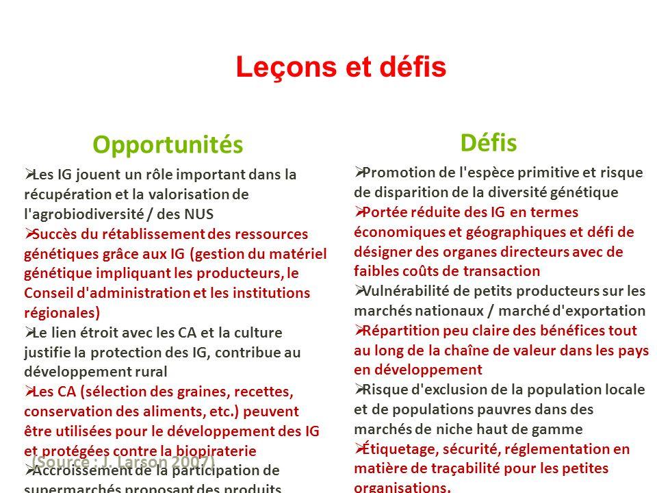 Leçons et défis Les IG jouent un rôle important dans la récupération et la valorisation de l'agrobiodiversité / des NUS Succès du rétablissement des r
