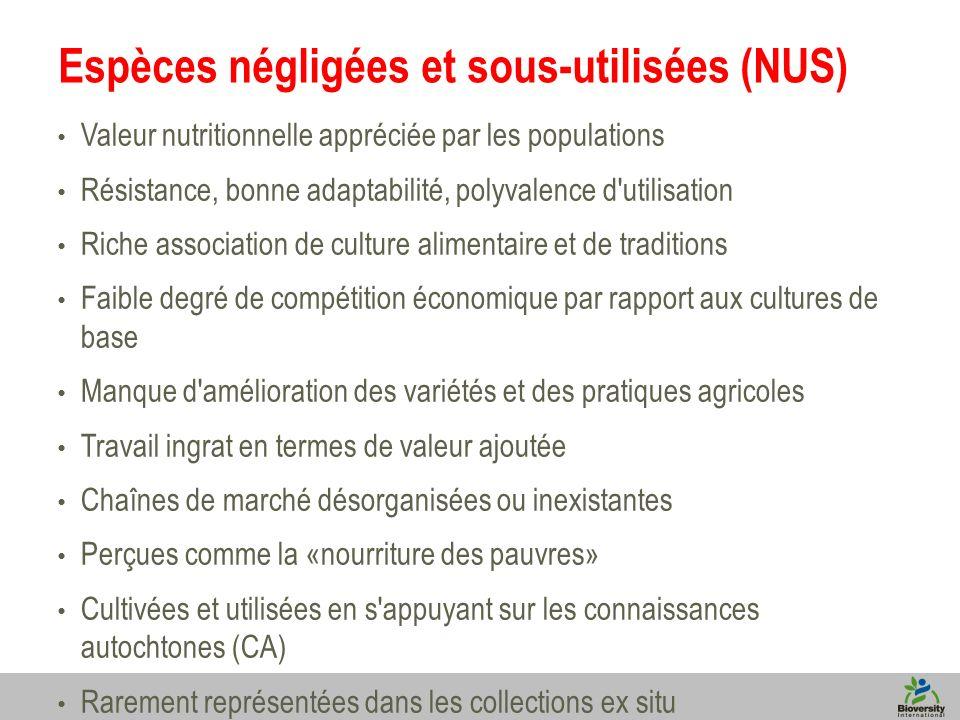 3 Espèces négligées et sous-utilisées (NUS) Valeur nutritionnelle appréciée par les populations Résistance, bonne adaptabilité, polyvalence d'utilisat