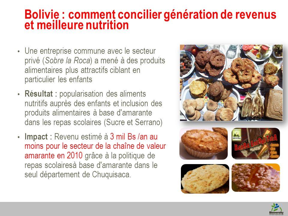 8 Bolivie : comment concilier génération de revenus et meilleure nutrition Une entreprise commune avec le secteur privé ( Sobre la Roca ) a mené à des