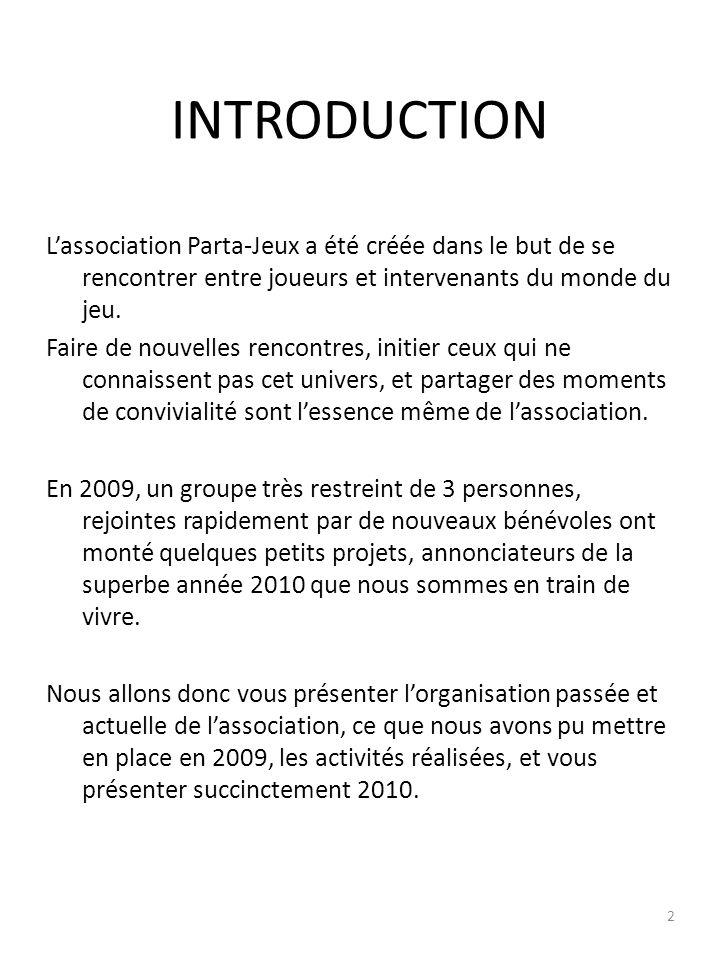 INTRODUCTION Lassociation Parta-Jeux a été créée dans le but de se rencontrer entre joueurs et intervenants du monde du jeu.