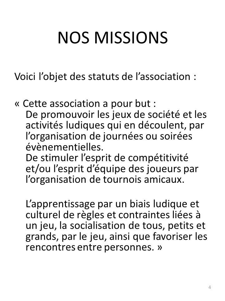 NOS MISSIONS On peut donc dire que lassociation, dès sa création, sest attachée à respecter les buts fixés par les statuts, et ainsi respecter les valeurs qui ont fondé Parta-Jeux.