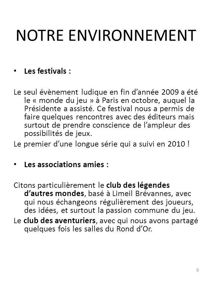 NOTRE ENVIRONNEMENT Les festivals : Le seul évènement ludique en fin dannée 2009 a été le « monde du jeu » à Paris en octobre, auquel la Présidente a assisté.